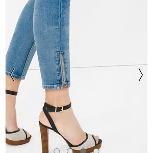 WHBM ankle crop jeans with zippers